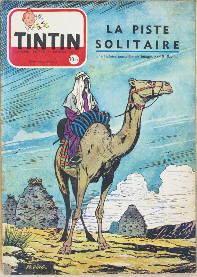 LE MANS, ΓΑΛΛΙΑ - 16 Ιουλίου 2017: Περιοδικό αριθ. Tintin 316 ήταν δημοσιευμένο στις 11 Νοεμβρίου 1954 δημοφιλές comics στο Βέλγι στοκ φωτογραφία με δικαίωμα ελεύθερης χρήσης