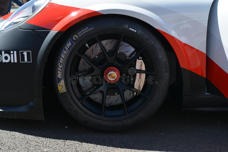 LE MANS, FRANCE - JUNE 18, 2017: Exposition of Porsche 911 RSR of Porsche GT Team during the 24 hours of Le mans. Circuit royalty free stock photography
