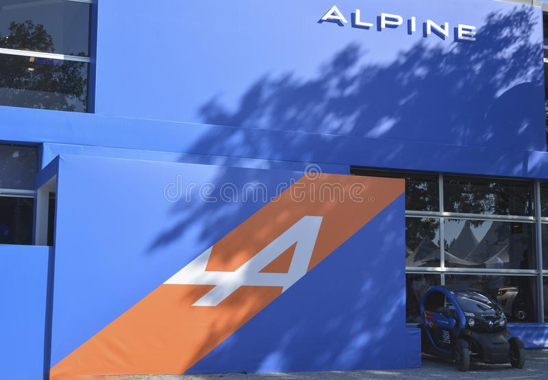 LE MANS, FRANCE - JUNE 18, 2017: Pavilion of the Alpine with exposition of the models of cars stock photography