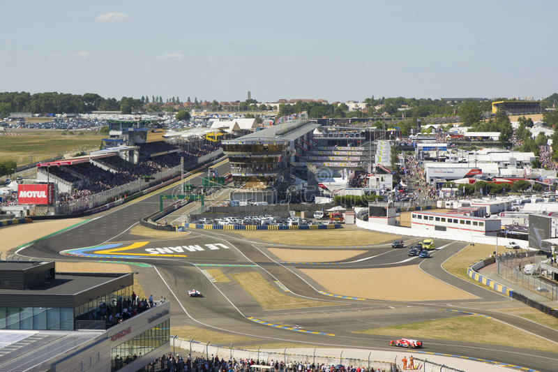 LE MANS - FRANCE, JUNE 17, 2017: Racetrack of a 24 hours at Le Mans circuit stock image