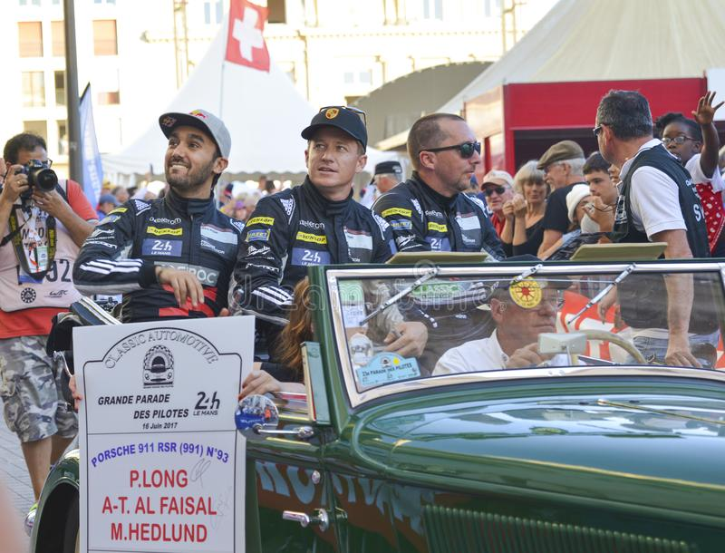 LE MANS, FRANCE - JUNE 16, 2017: Team of Porsche 911 Abdulaziz Al Faisal P.Long M.Hedlund Parade of pilots racing 24 hours royalty free stock photography