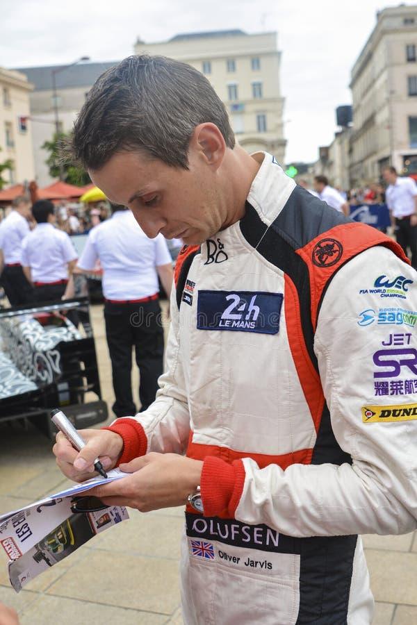 LE MANS, FRANCIA - 16 GIUGNO 2017: Gruppo britannico di Oliver Jarvis del driver di corsa di CC Oreca di corsa 07-Gibson di Jacki fotografia stock