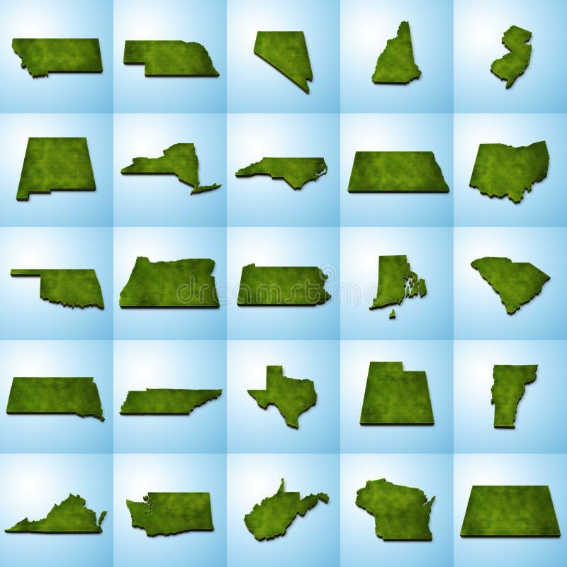 Le mappe dello stato USA hanno messo II illustrazione di stock