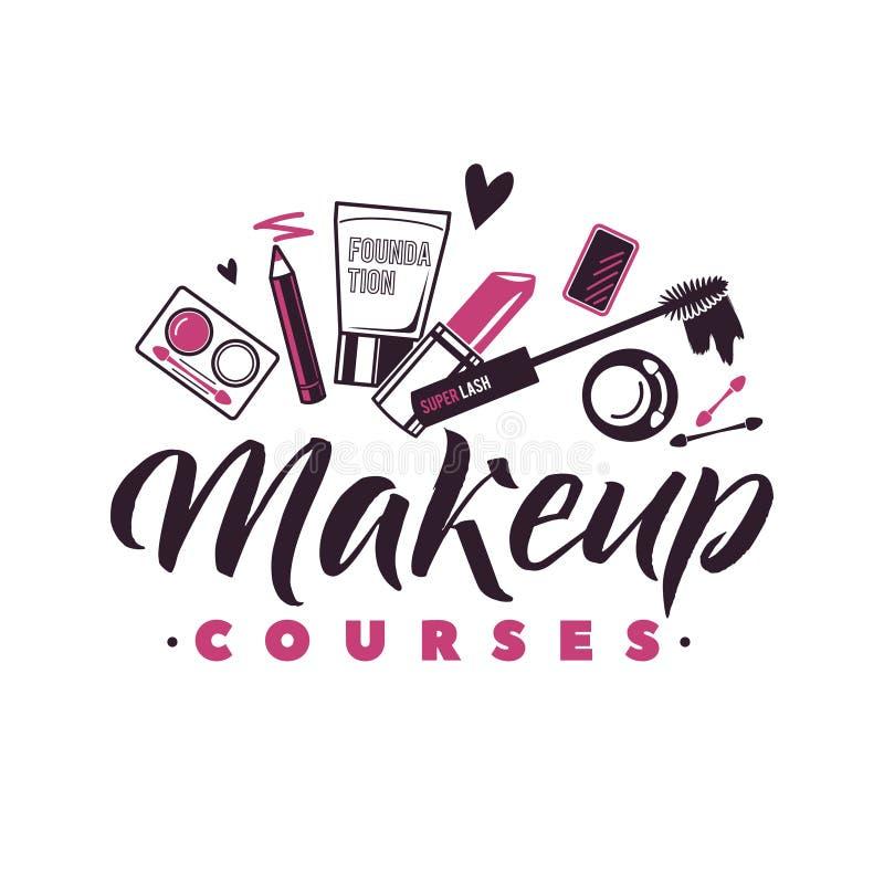 Le maquillage chasse le logo de vecteur Illustration des cosmétiques Belle illustration de lettrage illustration libre de droits