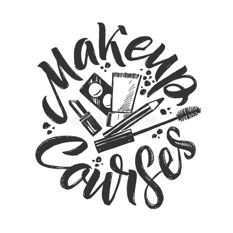 Le maquillage chasse le logo de vecteur Illustration tirée par la main des cosmétiques Illustration ronde de lettrage illustration de vecteur