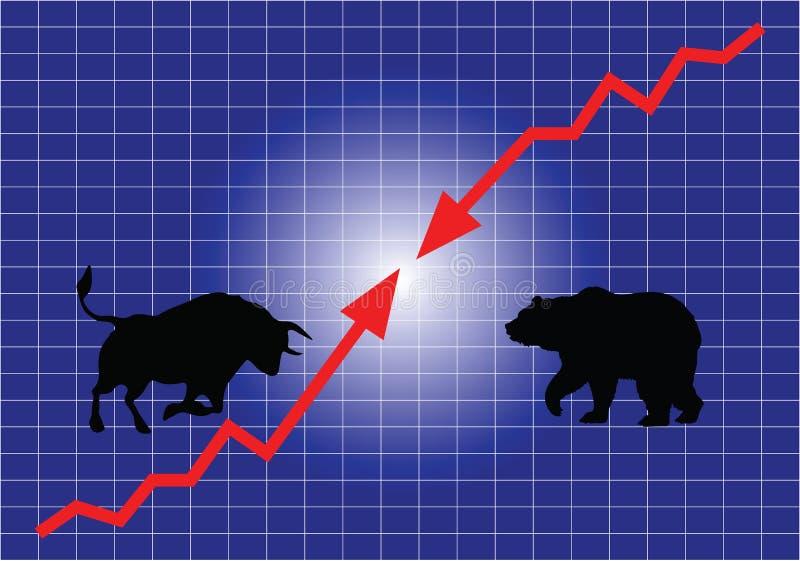 Le marché boursier, les taureaux et les ours illustration de vecteur