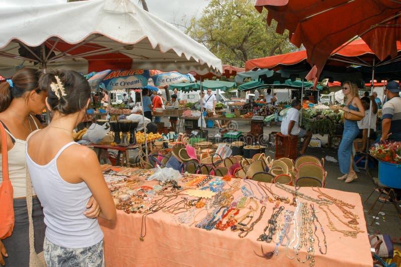 Le marché du saint Gilles sur la La Reunion Island, France image stock