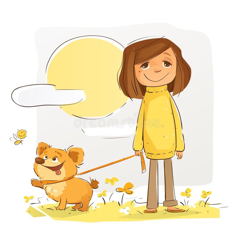 Le marcheur de chien illustration de vecteur