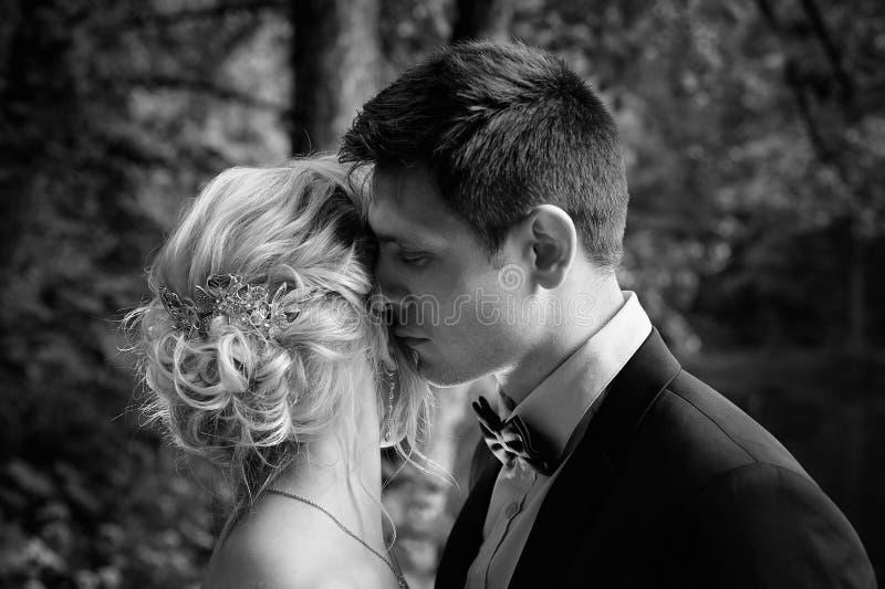 Le marié étreint la jeune mariée et l'embrasse doucement Promenade Wedding Guerre biologique image libre de droits