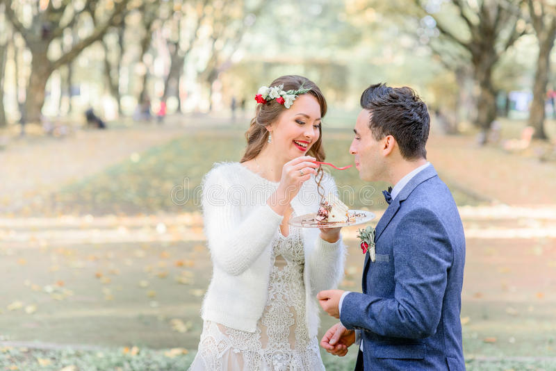 Le marié dans la veste bleue embrasse le gâteau de mariage des mains du ` s de jeune mariée photographie stock libre de droits