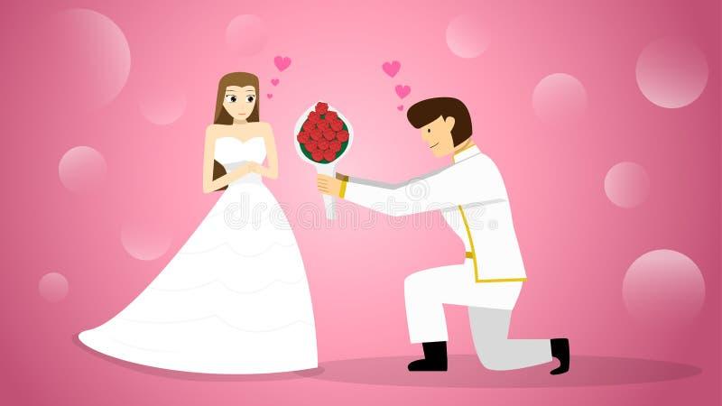 Le marié donnent le bouquet de fleur à la jeune mariée, art de vecteur illustration stock