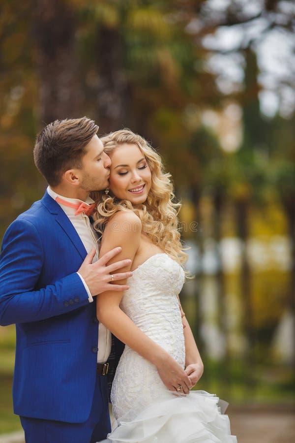 Le marié embrasse la jeune mariée en parc pendant l'été photo stock