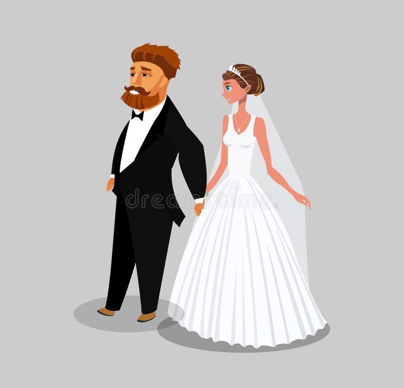Le marié et la jeune mariée couplent l'élément de conception de bande dessinée illustration libre de droits