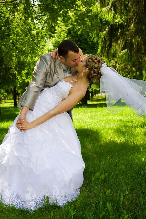 Le marié retient la mariée en stationnement image stock