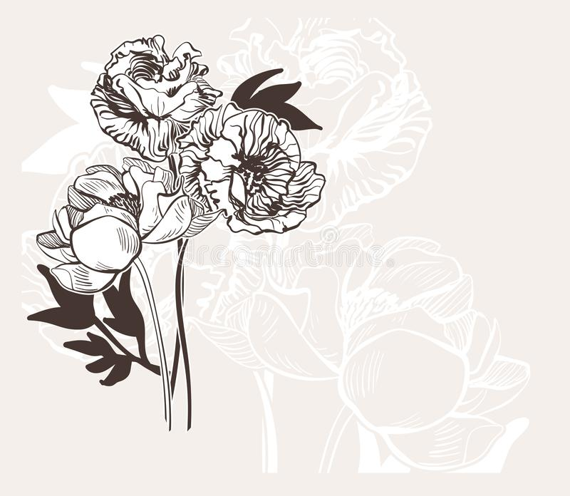 Le mariage élégant gravé de fleur de vecteur de bakground abstrait de carte célèbrent la pivoine de cru illustration stock
