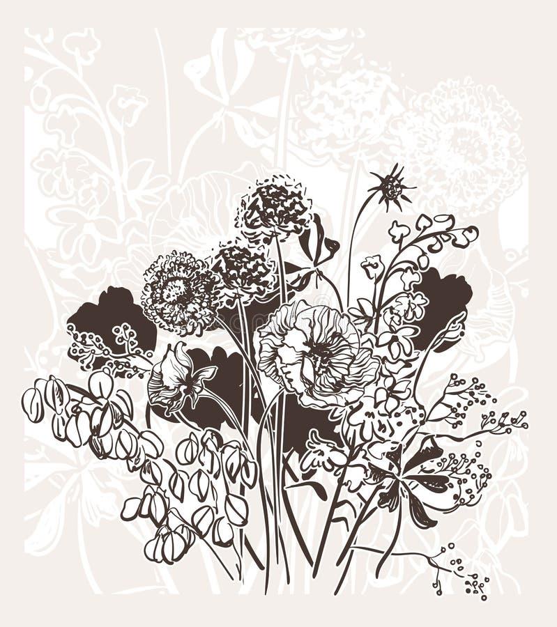Le mariage élégant gravé de fleur de vecteur de bakground abstrait de carte célèbrent le pré de cru illustration stock