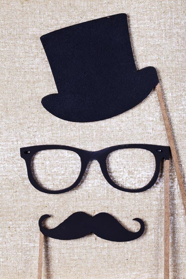 Le mariage étaye la moustache et les verres photo libre de droits