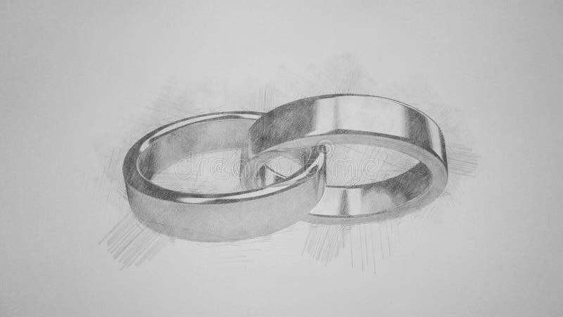 Le mariage de mariage marient des anneaux d'anneau épousant le croquis de penscil image libre de droits