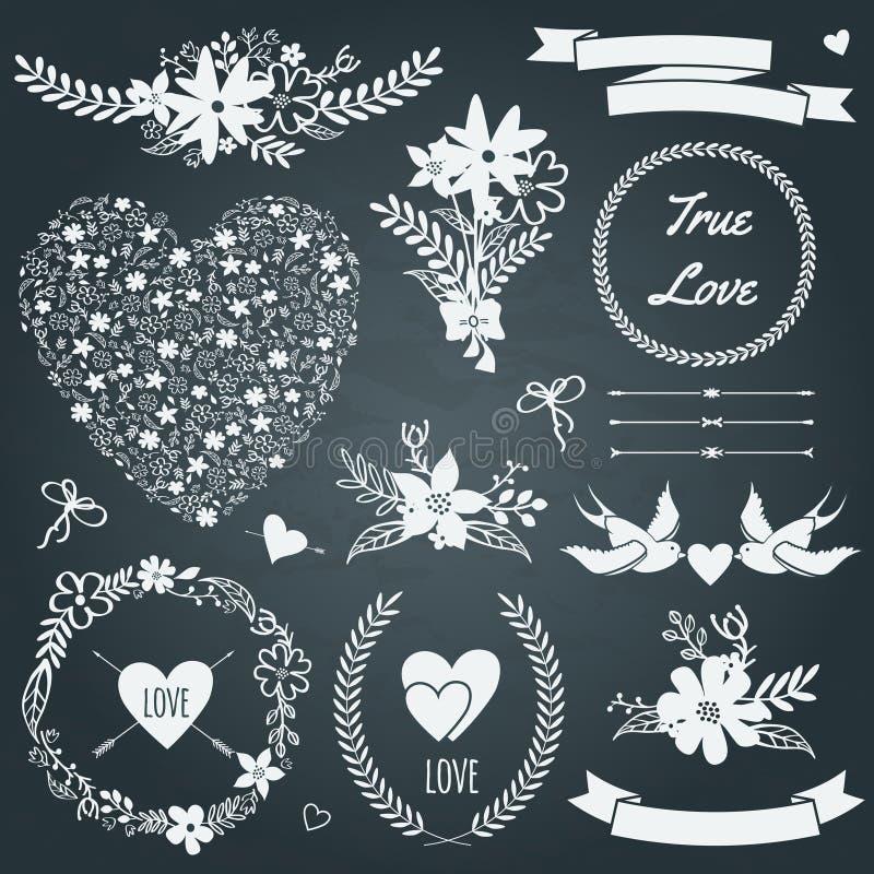 Le mariage de vecteur a placé avec des bouquets, oiseaux, coeurs, flèches, rubans illustration libre de droits