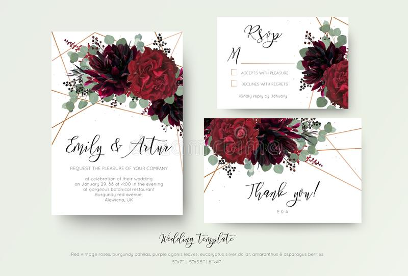 Le mariage invitent l'invitation, rsvp, merci conception florale de carte r illustration stock