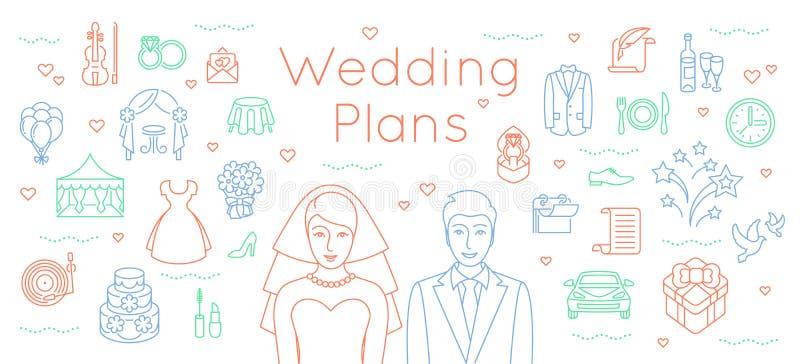 Le mariage prévoit la ligne mince fond plat illustration de vecteur