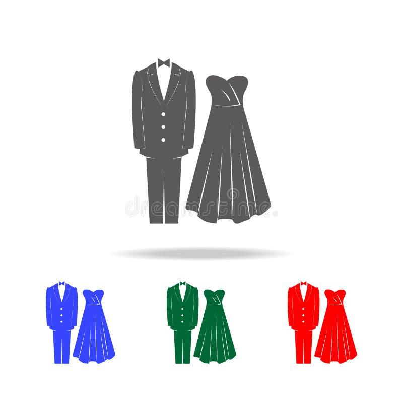 le mariage vêtx des icônes Éléments du mariage dans les icônes colorées multi Icône de la meilleure qualité de conception graphiq illustration libre de droits