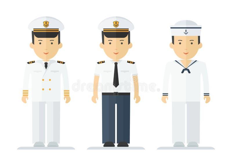 Le marin de profession équipe des costumes illustration stock