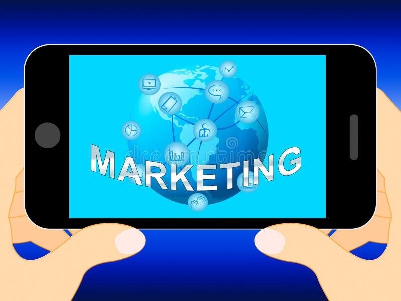 Le marketing en ligne montre l'illustration des promotions 3d du marché illustration libre de droits