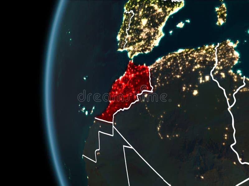 Le Maroc de l'espace la nuit photographie stock libre de droits