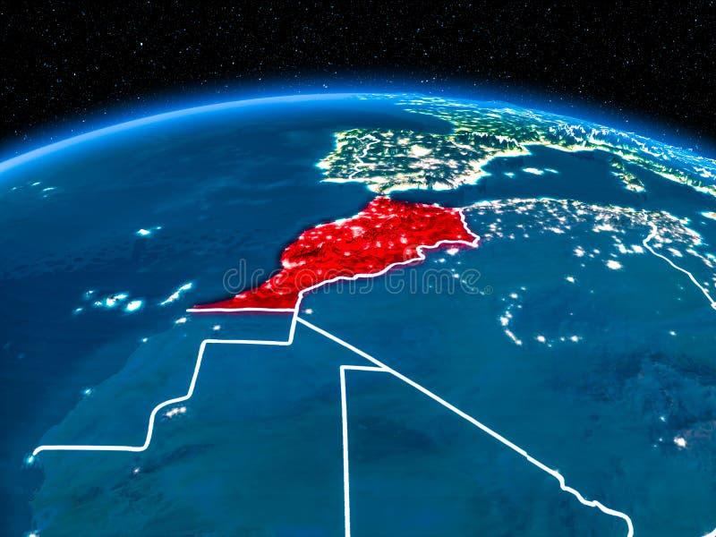 Le Maroc de l'espace la nuit photos libres de droits
