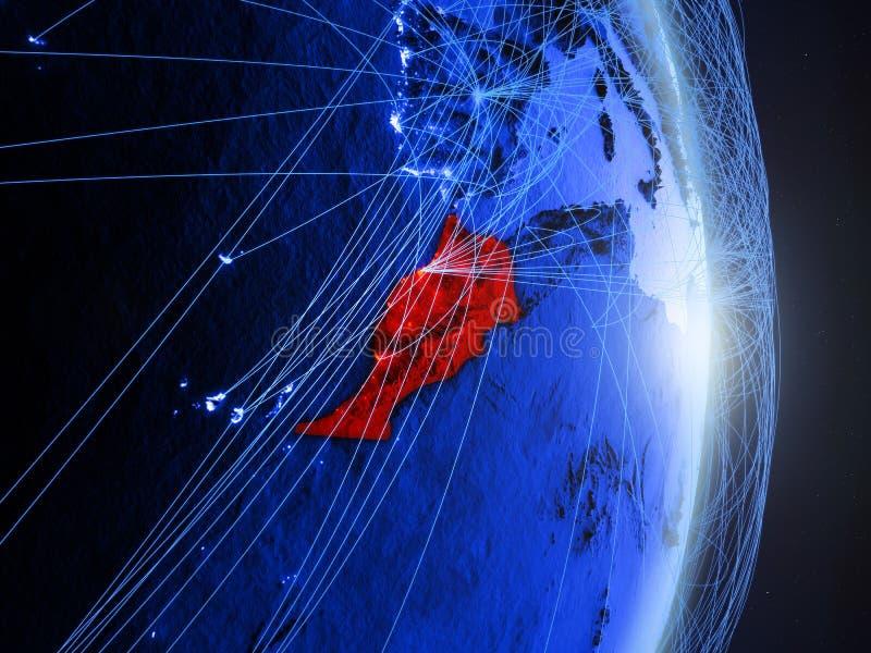 Le Maroc sur la terre numérique bleue bleue image stock