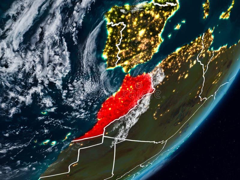 Le Maroc sur terre la nuit image libre de droits