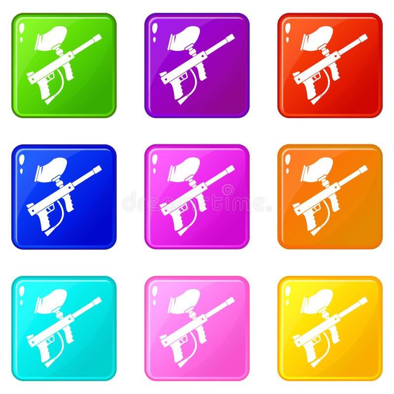 Le marqueur de Paintball a placé 9 illustration libre de droits