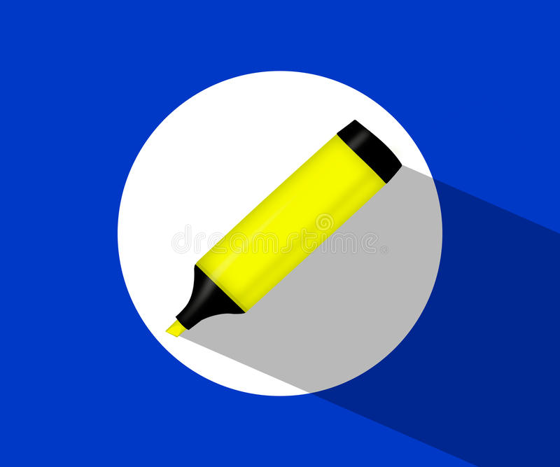 Le marqueur jaune icône avec un marqueur jaune highlighter illustration stock
