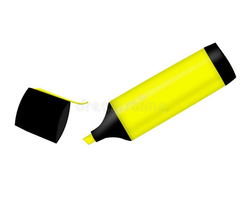 Le marqueur jaune icône avec un marqueur jaune highlighter illustration de vecteur