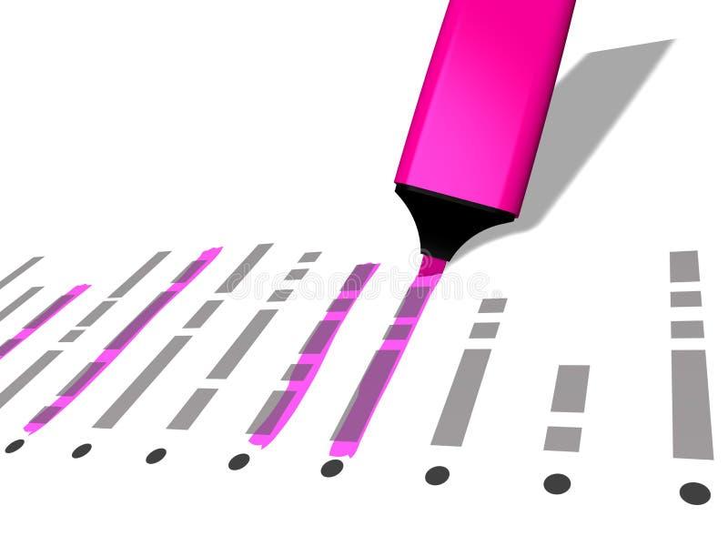 Le marqueur rose de stylo employé pour accentuer a sélectionné des éléments de liste illustration de vecteur