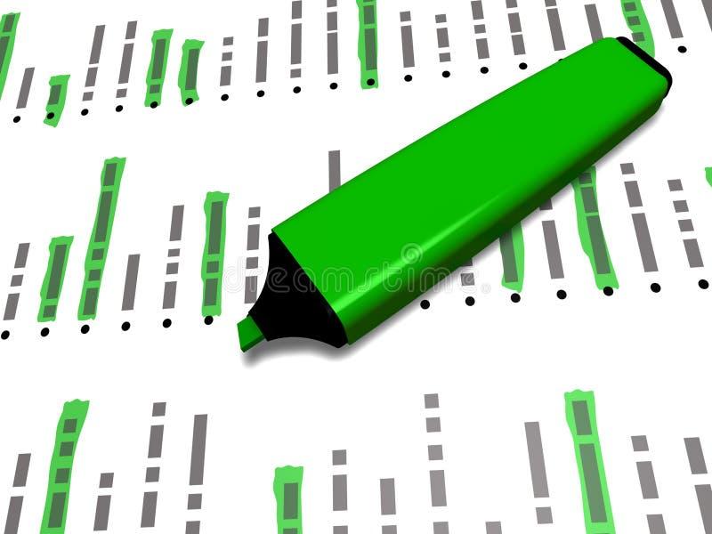 Le marqueur vert de stylo sur une liste avec certains a accentué des éléments illustration stock
