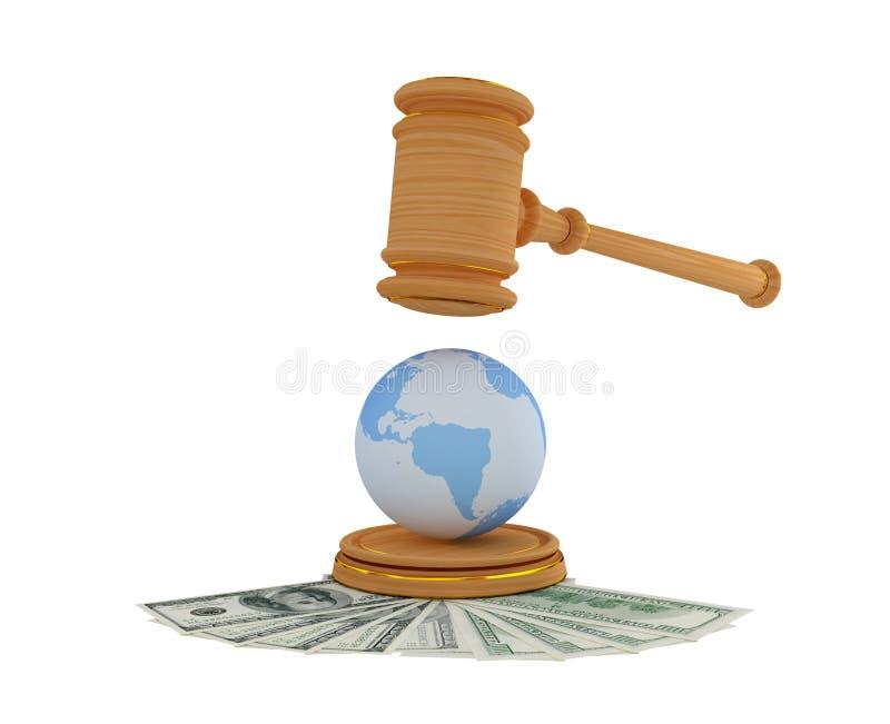 Le marteau de l'avocat, les dollars et le modèle de la terre. illustration de vecteur