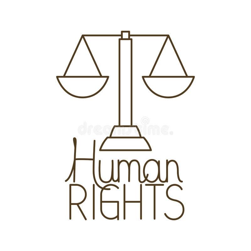 Le marteau du juge avec l'ic?ne d'isolement de droits de l'homme illustration libre de droits