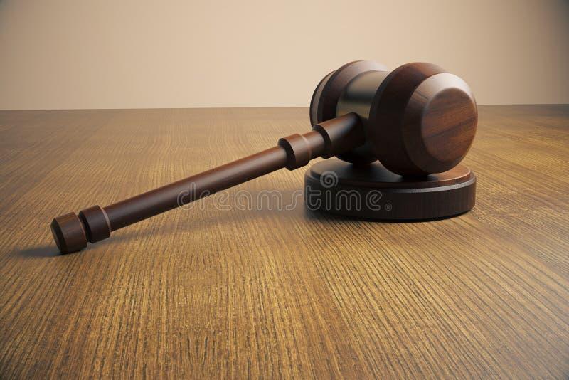 Le marteau du juge sur le dessus de table illustration libre de droits
