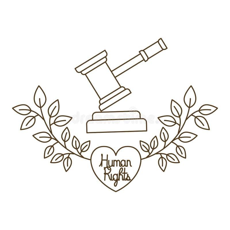 Le marteau et les droits de l'homme du juge au coeur avec l'icône d'isolement par feuilles illustration libre de droits