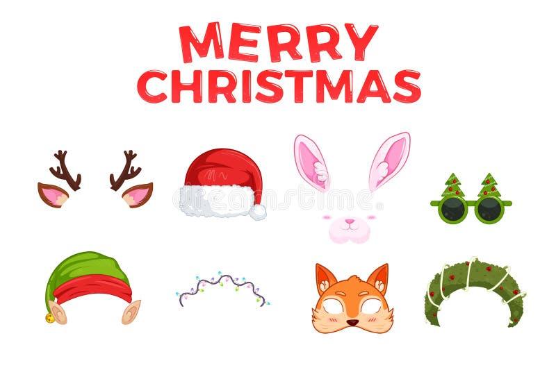 Le maschere del nuovo anno per le foto Clipart Santa Claus e Elf di Natale e coniglio e cervi e volpe illustrazione vettoriale