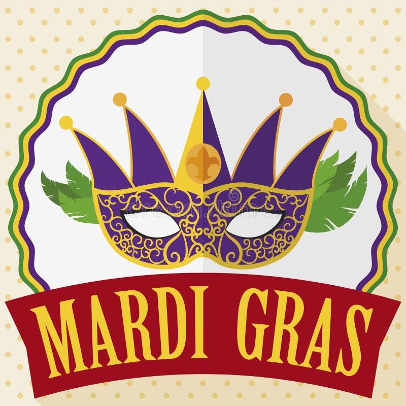 Le masque, le bouton fait varier le pas et le ruban pour célébrer Mardi Gras, dirigent l'illustration illustration de vecteur