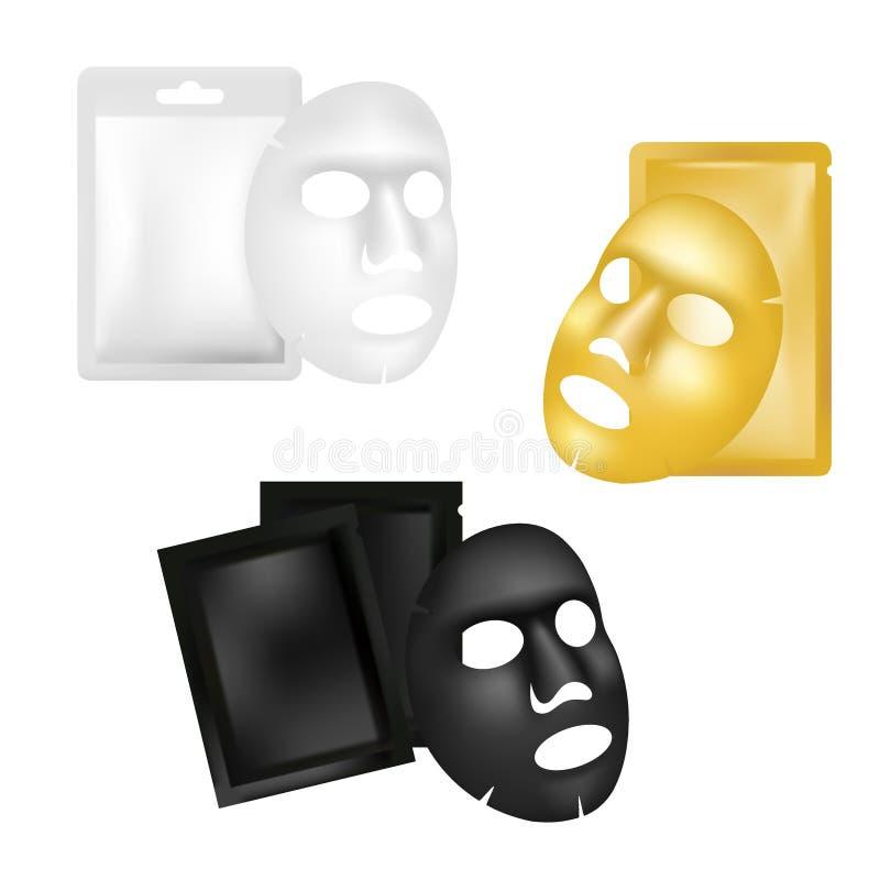 Le masque de feuille et l'ensemble faciaux de maquette de sachet, dirigent l'illustration réaliste illustration de vecteur