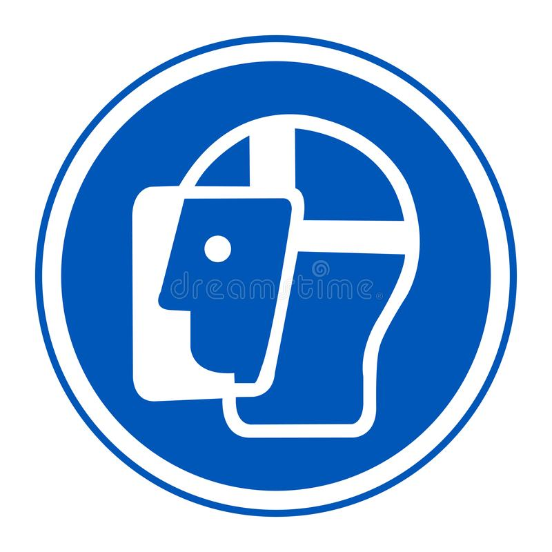 Le masque de protection de symbole doit être isolat porté de signe sur le fond blanc, l'illustration ENV de vecteur 10 illustration libre de droits