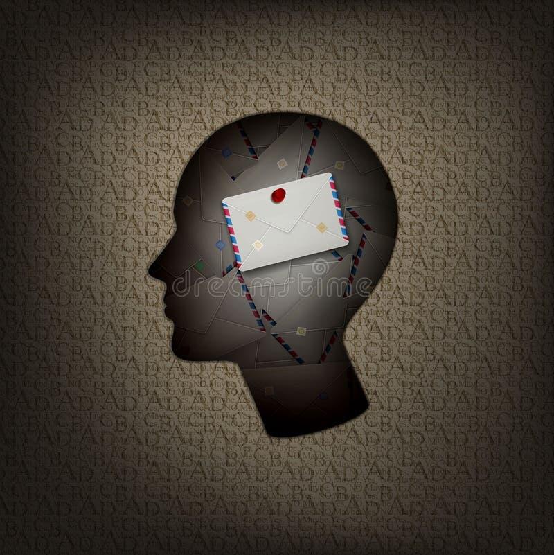 Le massage dans le concept d'esprit humain, le profil d'homme avec la pile de l'intérieur de lettres et le modèle des textes deho illustration libre de droits