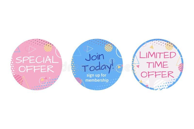 Le matériel, l'autocollant, le timbre ou le label de commercialisation pour l'offre de temps limité, offre spéciale, se joignent  illustration libre de droits