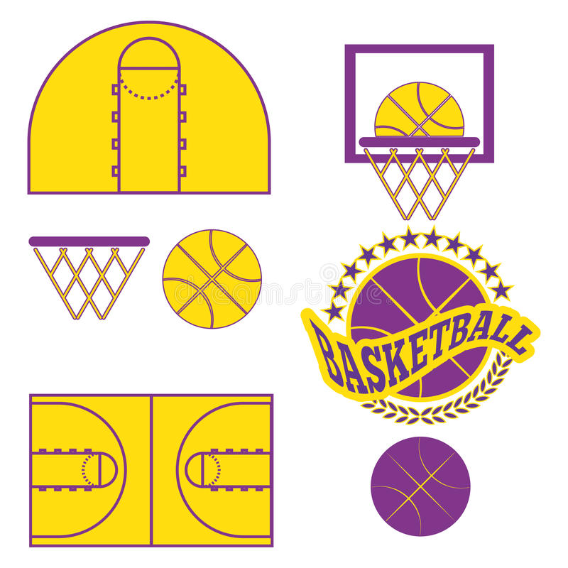 Le match de basket objecte des icônes illustration libre de droits