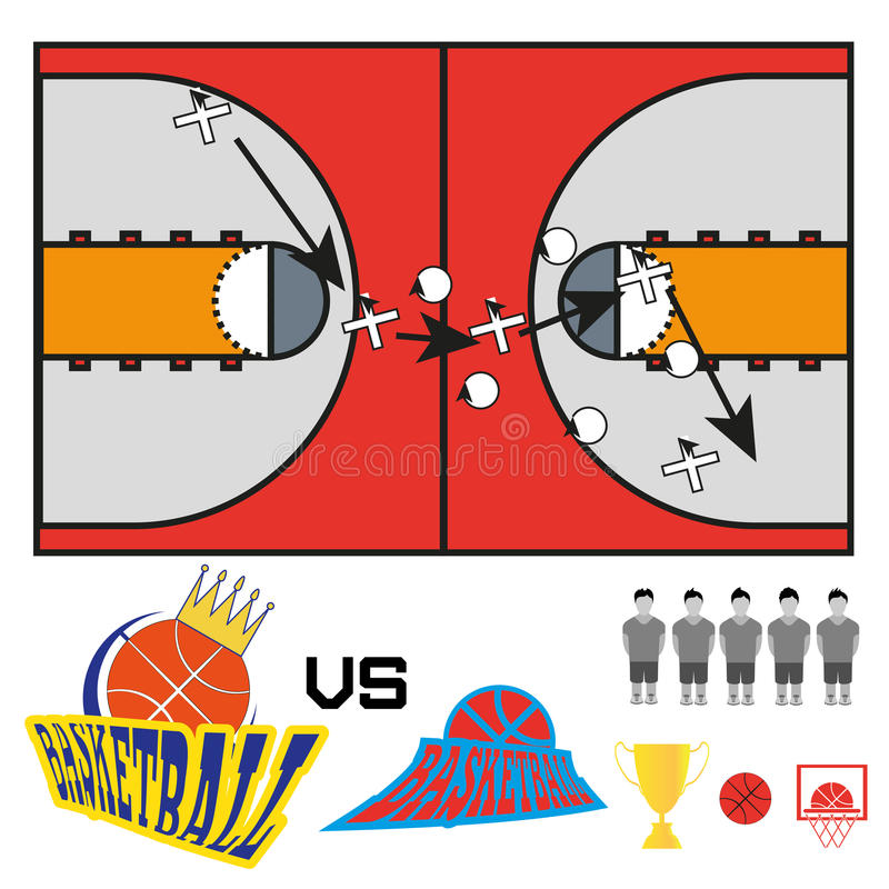 Le match de basket objecte des icônes illustration de vecteur