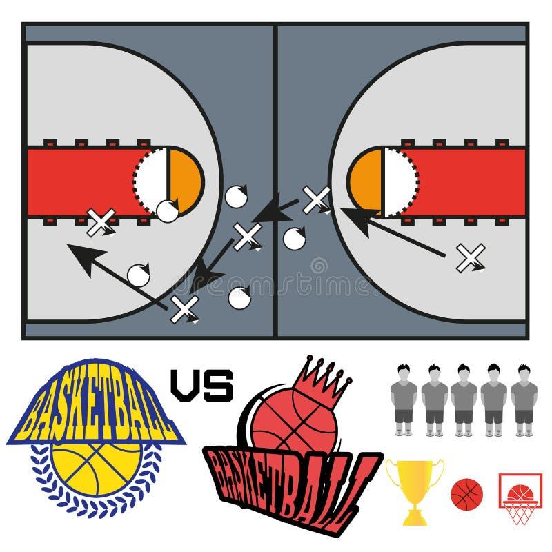 Le match de basket objecte des icônes illustration stock
